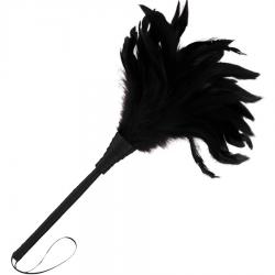 Plumeau en cuir noir 24 cm