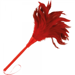 Plumeau en cuir rouge 24 cm
