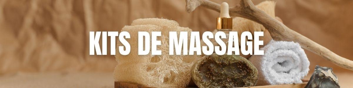 Kits de massage, huiles, lotions, crèmes, gommages et aromathérapie